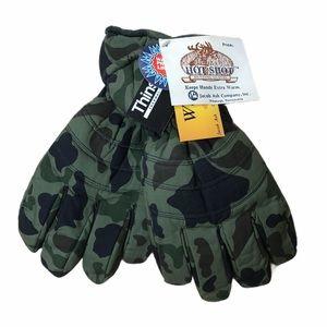 HOT SHOT Hunting Gloves Green Wood & Camo Poplin